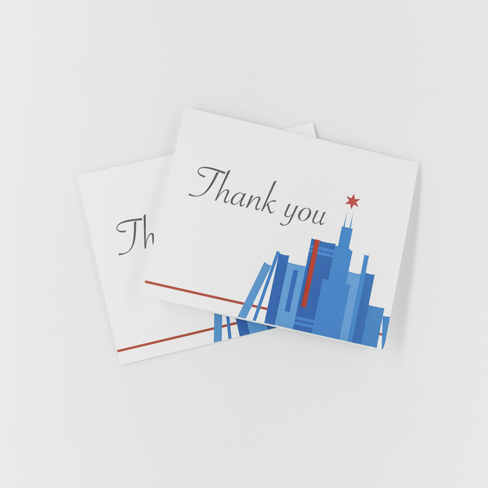 Thank you card with Chicago illustration.