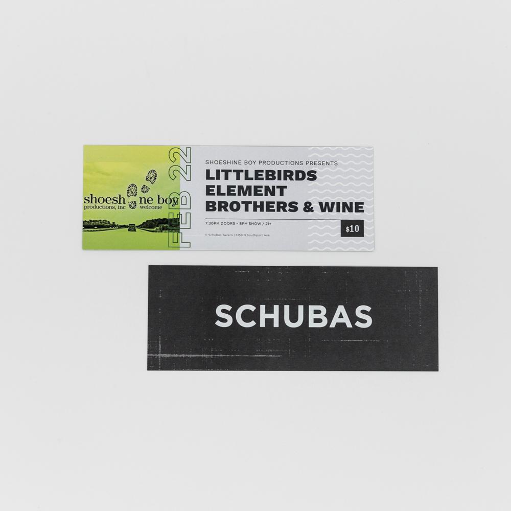 Concert tickets to Schubas in Chicago.