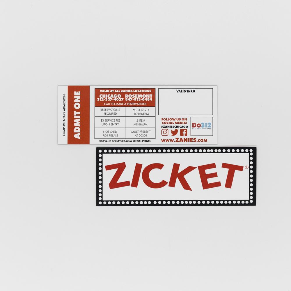 Tickets to Zanies comedy club.
