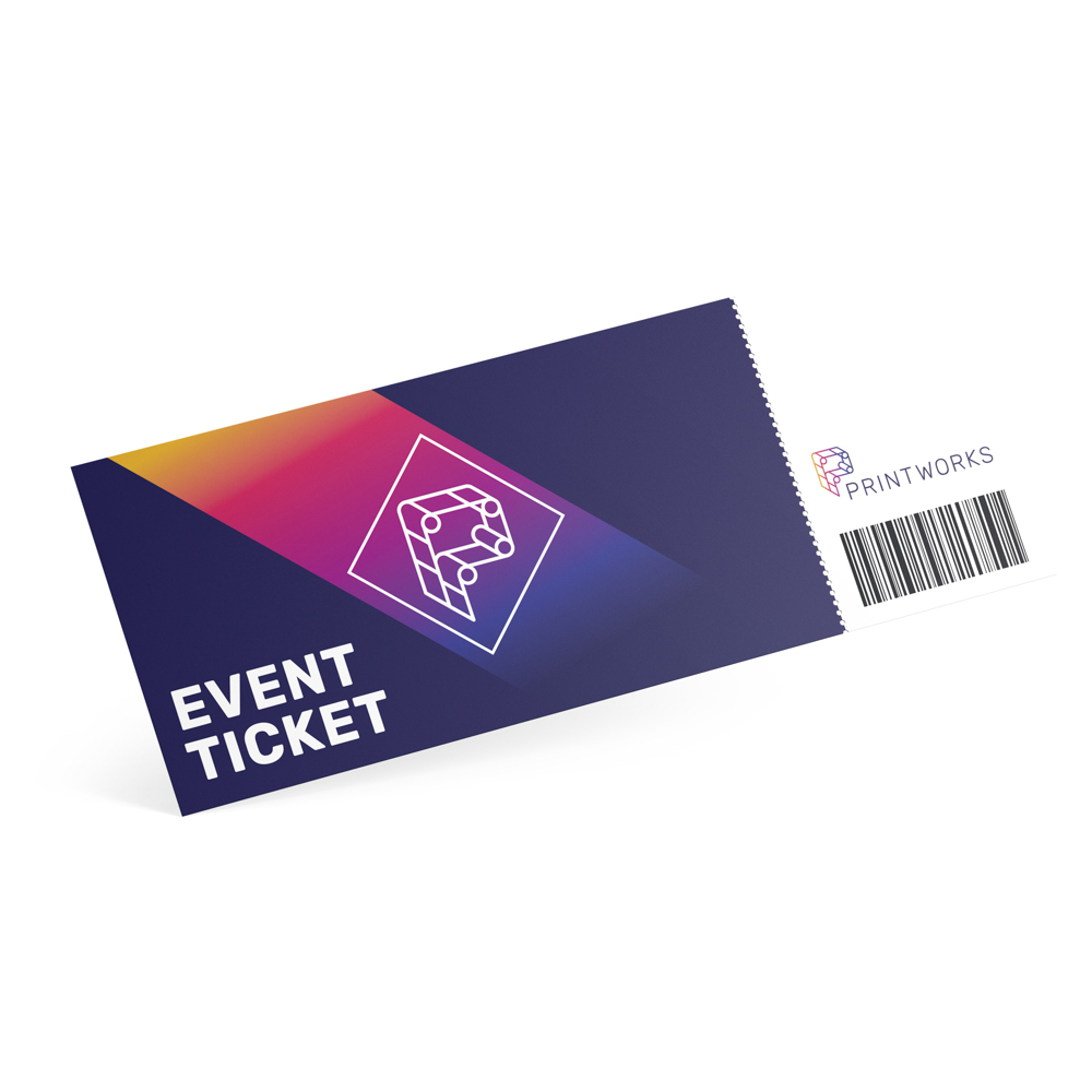 Image of a printworks branded ticket with show info and a scannable bar code on it