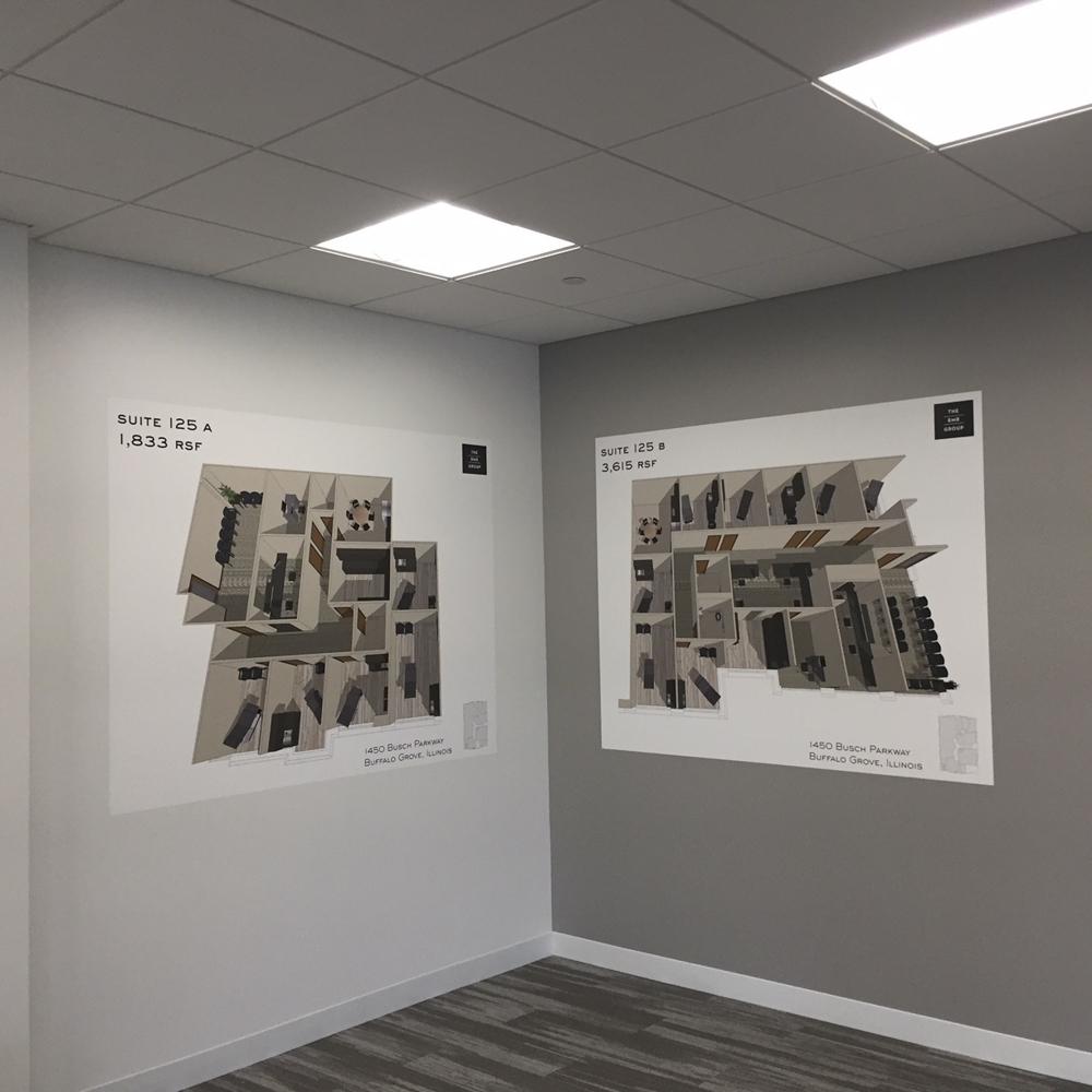 Wall graphics displaying diagrams.