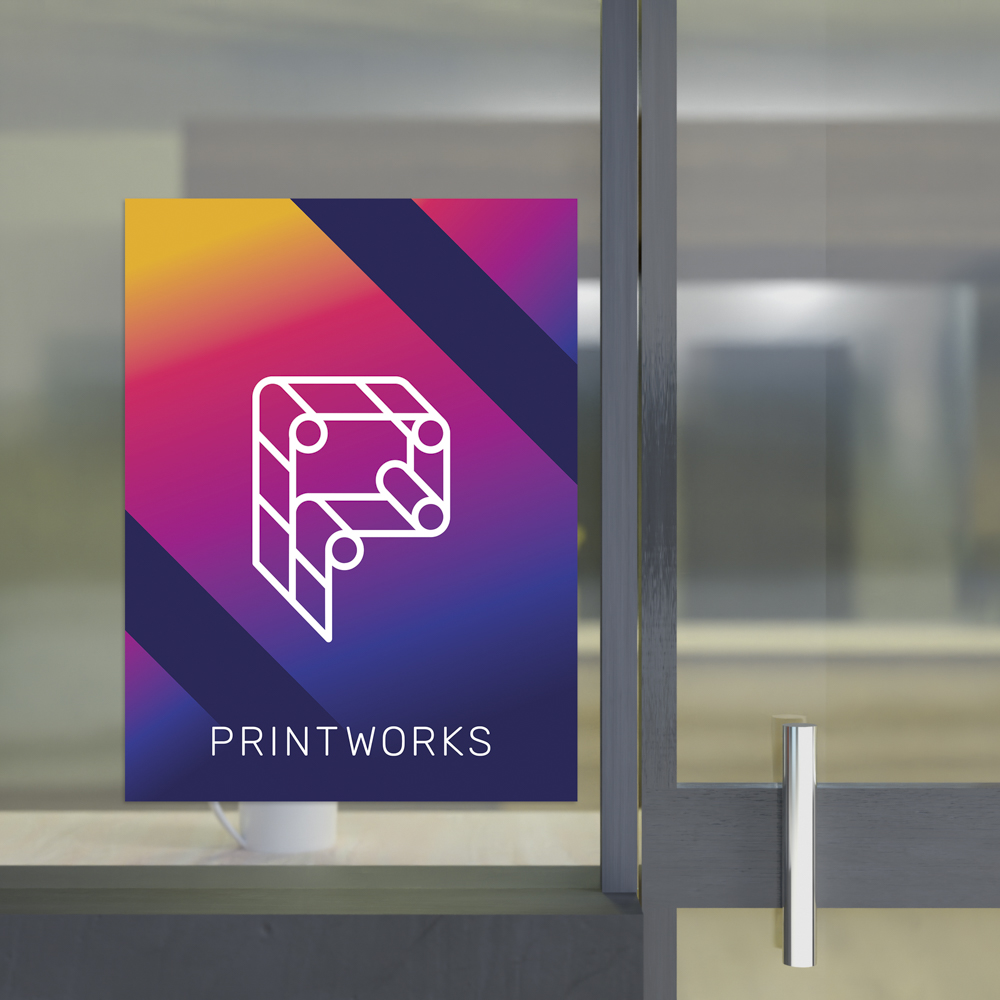 Image of a printworks branded window cling stuck upon a window