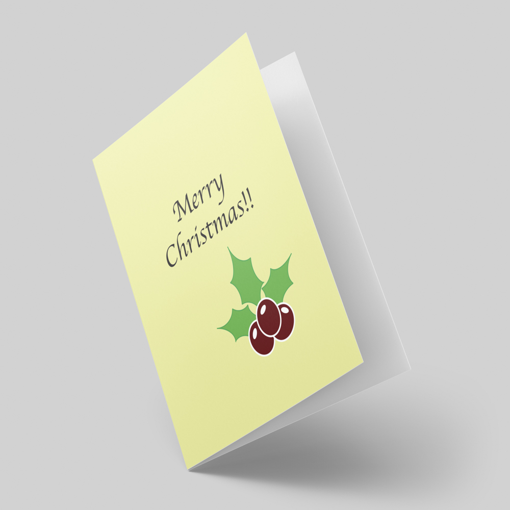 Christmas themed greeting card with an illustration of holly leaves and berries.