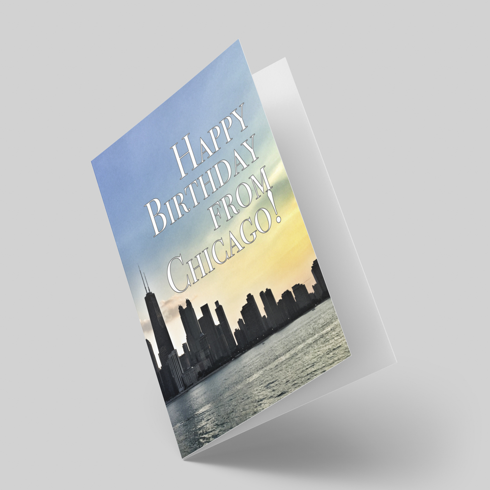 Birthday greeting card with a photo of the chicago skyline.
