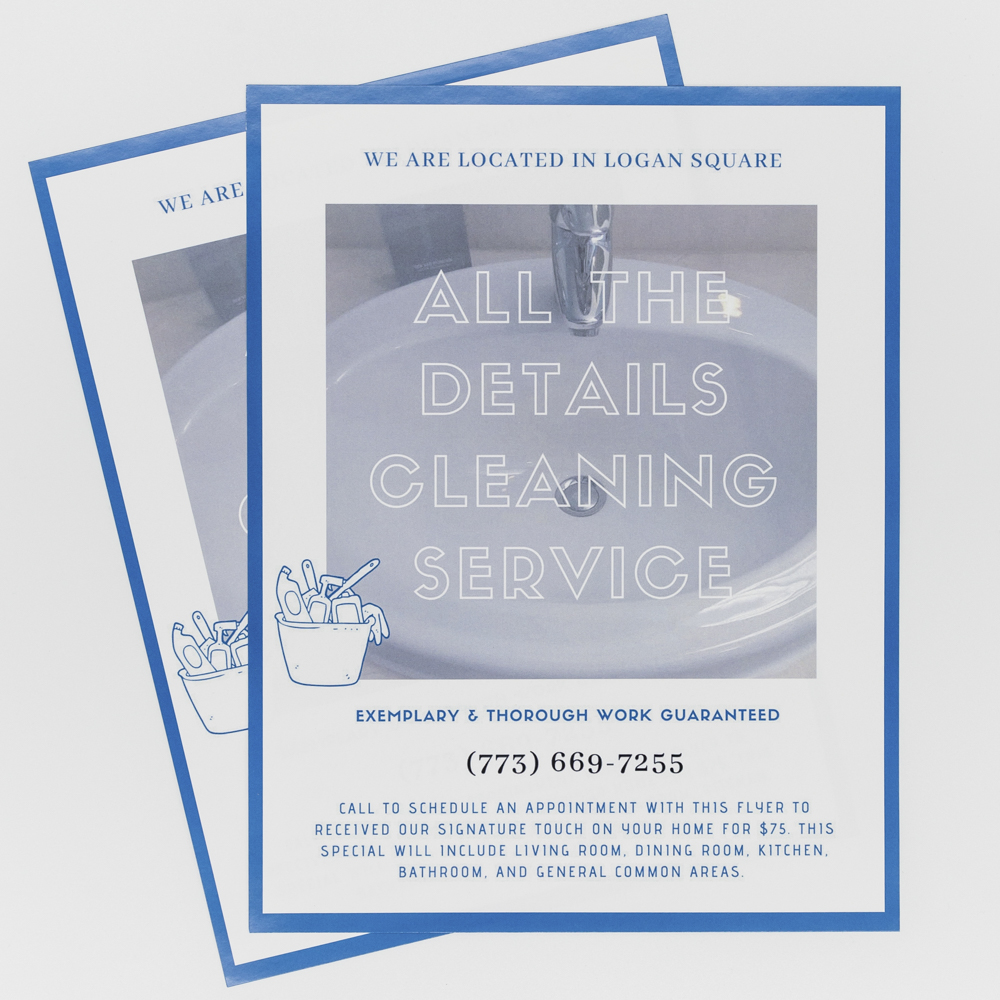 Flyer for cleaning service with image of a clean sink.
