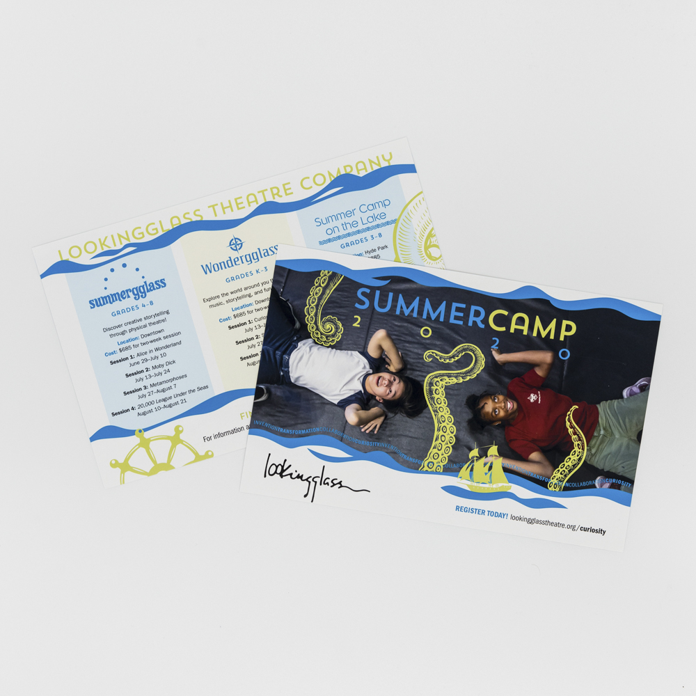 Flyer with a photo of two kids at summer camp.