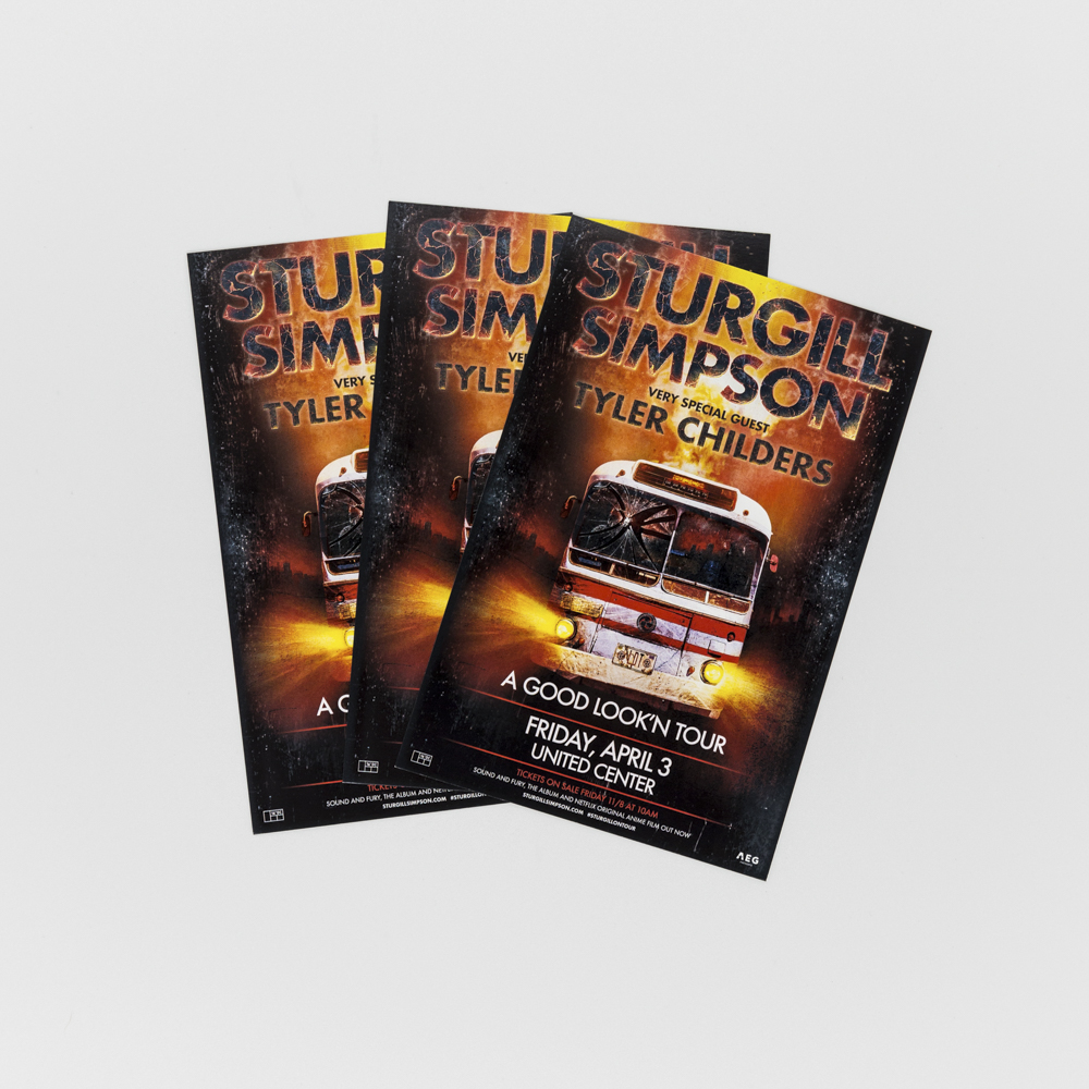Sturgill simpson flyer with an image of a bus with lights on.