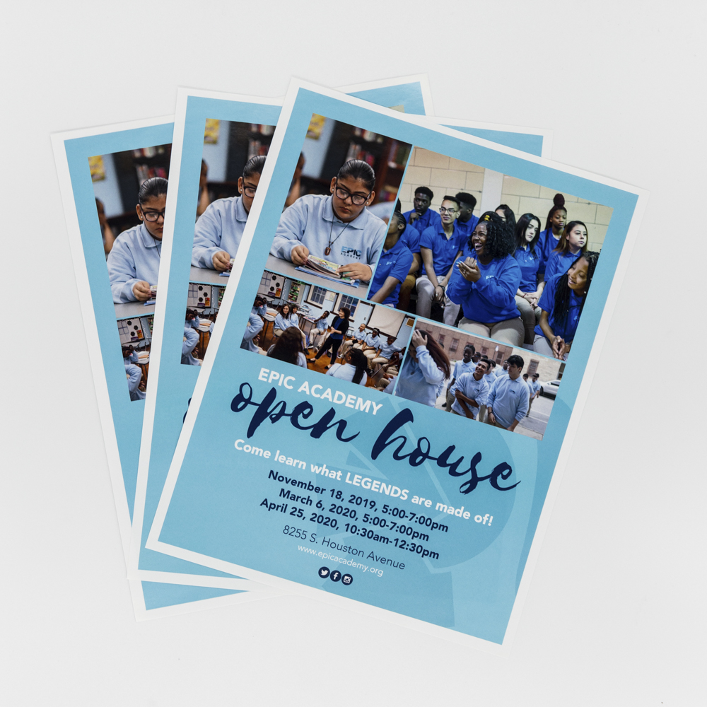Blue flyer with photos of an after school program.