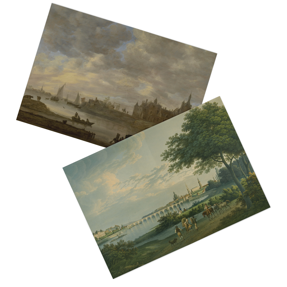 Image of fine art prints of paintings of people and horses, and another painting of boats in a channel.