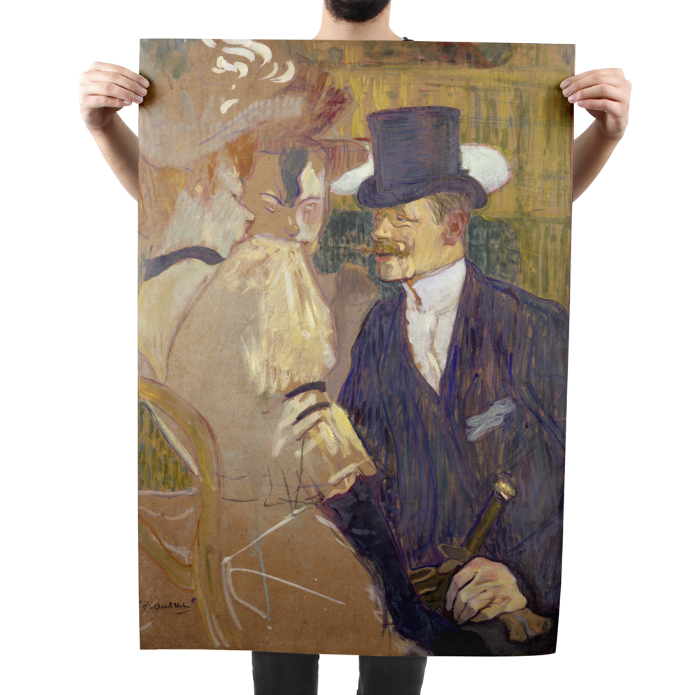 Poster of fine art painting featuring a man in a top hat and a woman in a victorian dress.