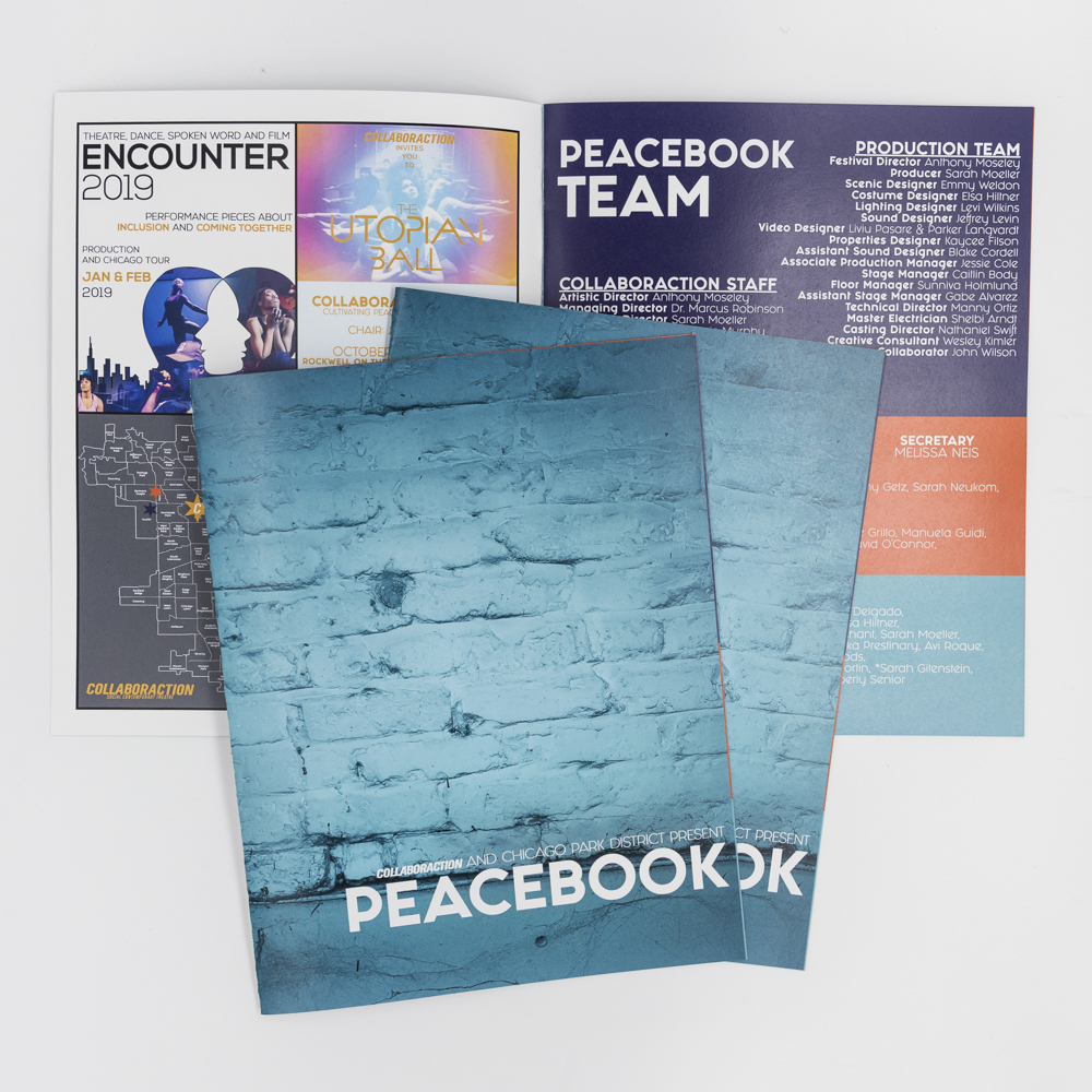 """An event program booklet for a production called """"Peacebook""""."""