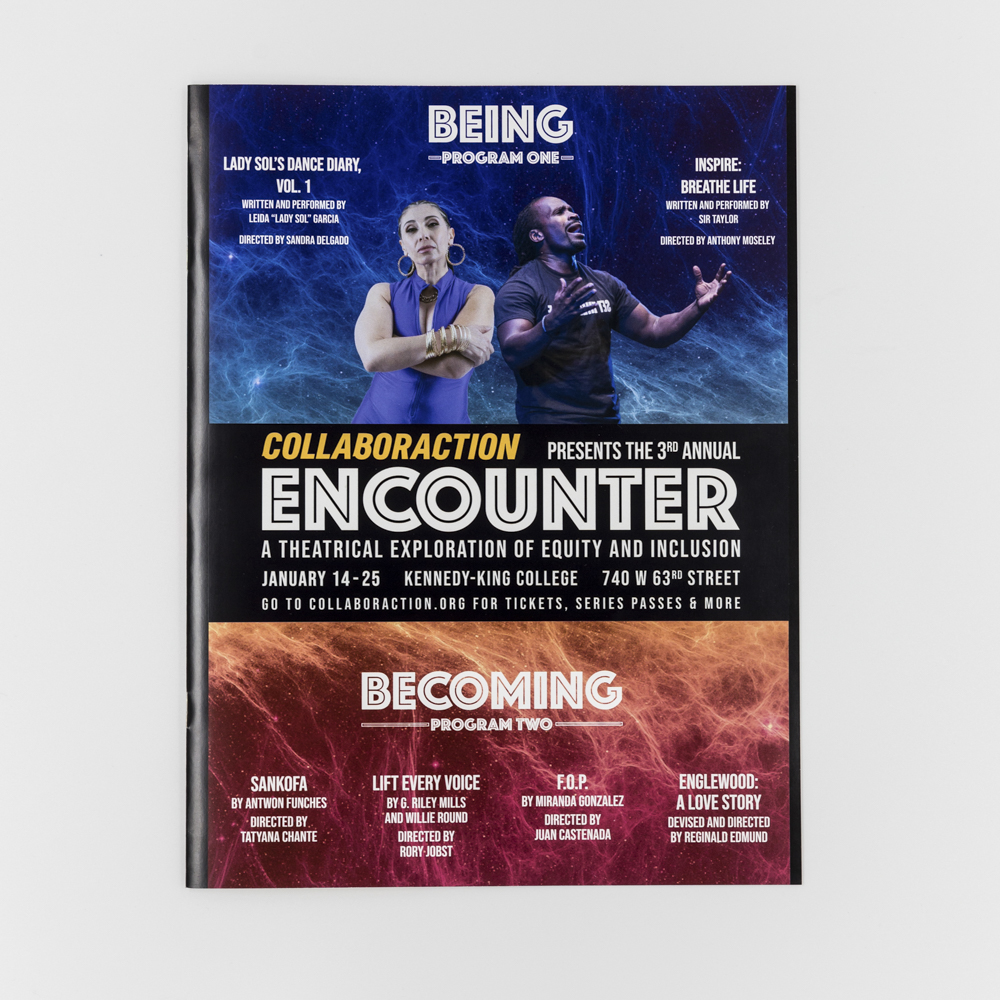 """An event program booklet for a theatrical event titled """"Encounter""""."""