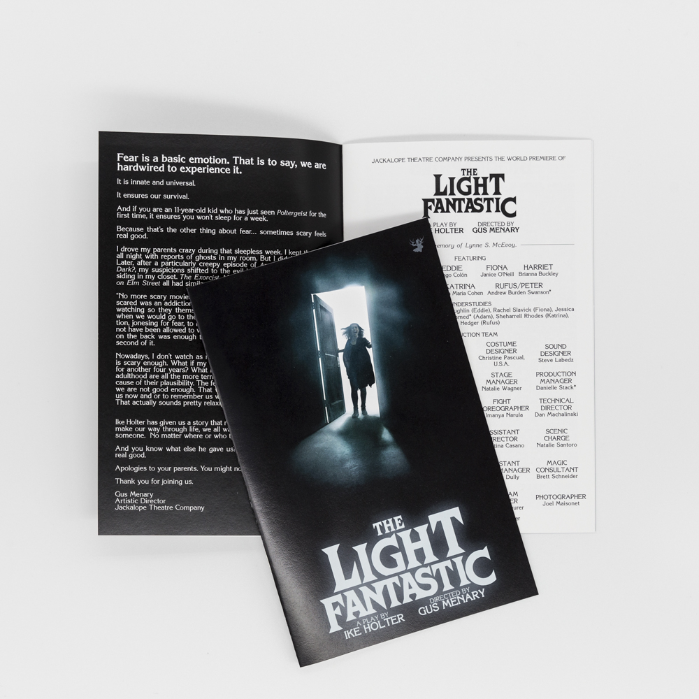 """An event program booklet for a theatre performance called """"The Light Fantastic""""."""