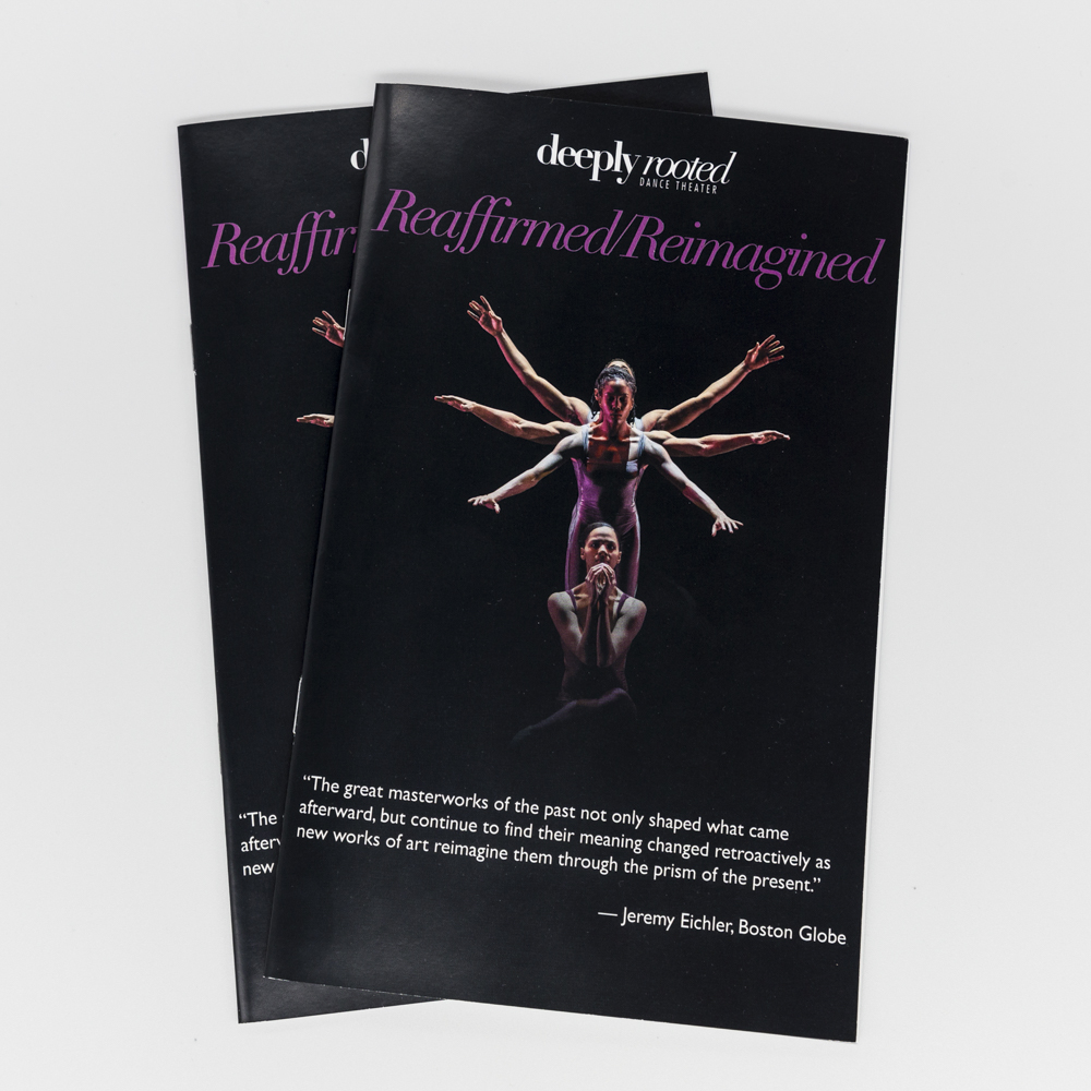 "An event program for a dance performance titled ""Reaffirmed/Reimagined""."