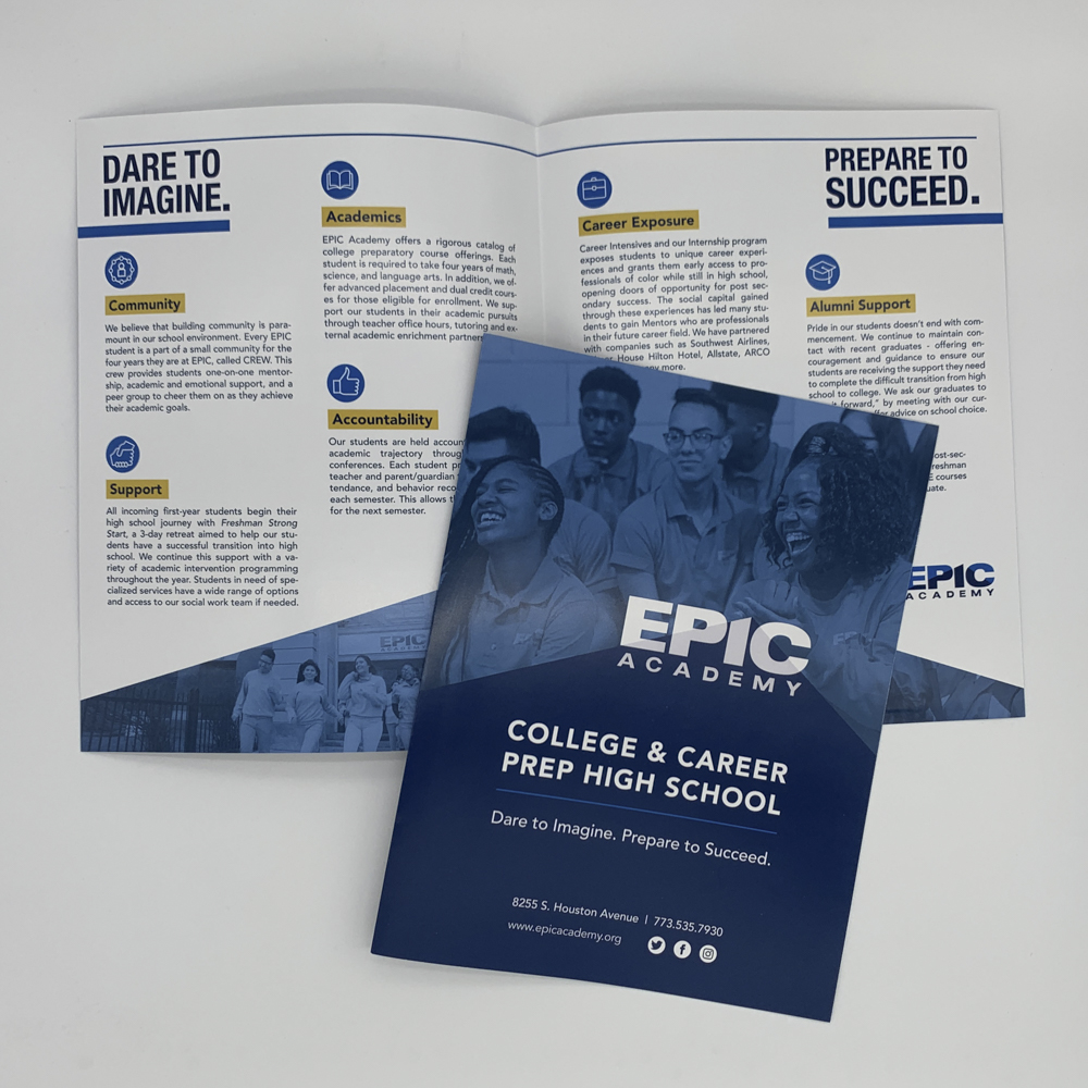 An event program booklet for epic academy.