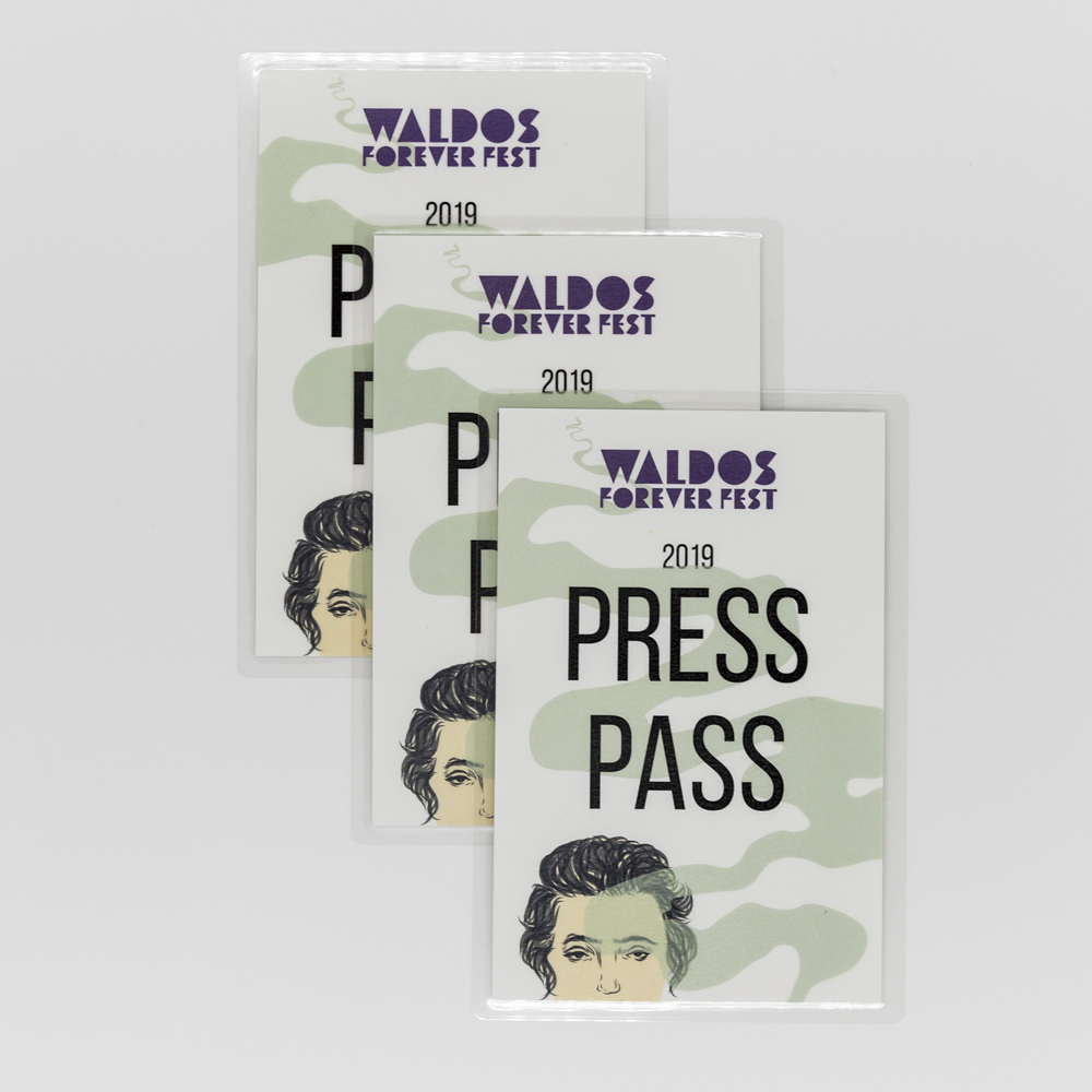 Event badge press pass for Waldo's Forever Fest.