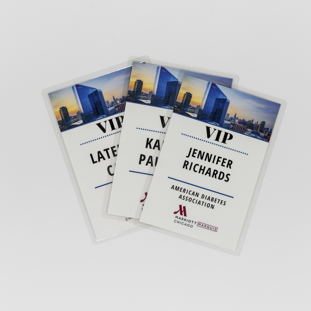 Event badges for VIP personnel.