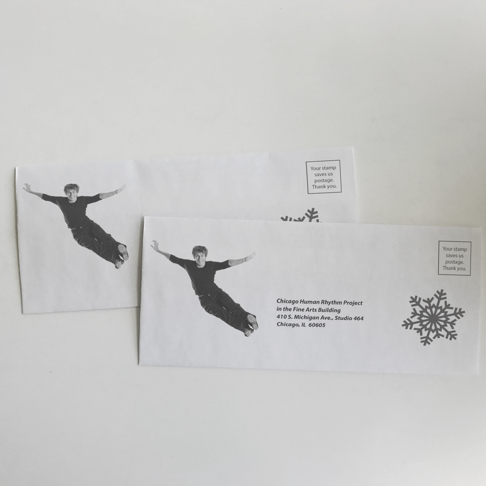 Envelope for dance organization featuring images of a dancer and a snowflake.