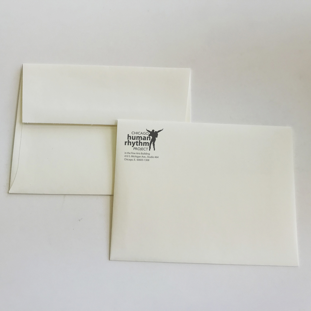 Envelope for Chicago Human Rhythm with return address with logo.