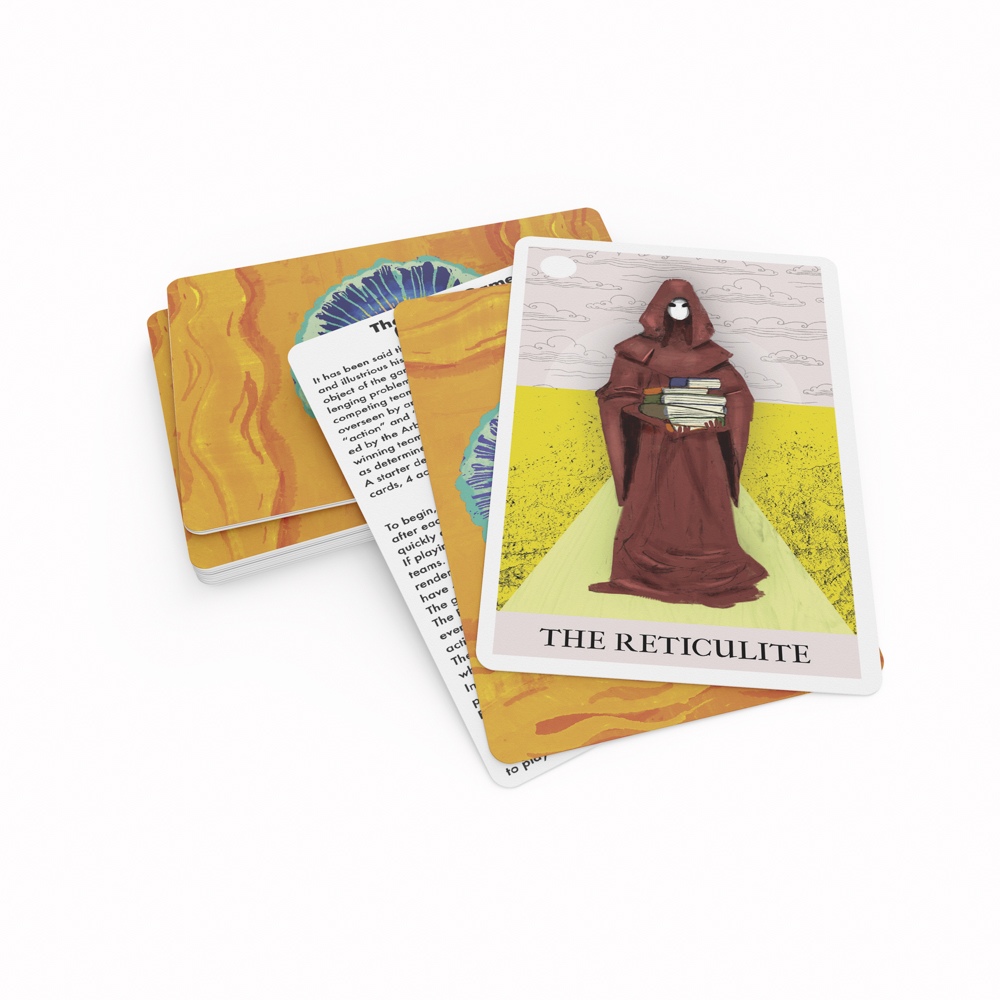 """Image of custom playing cards, with an illustration of a wizard and """"The Reticulite"""" text."""