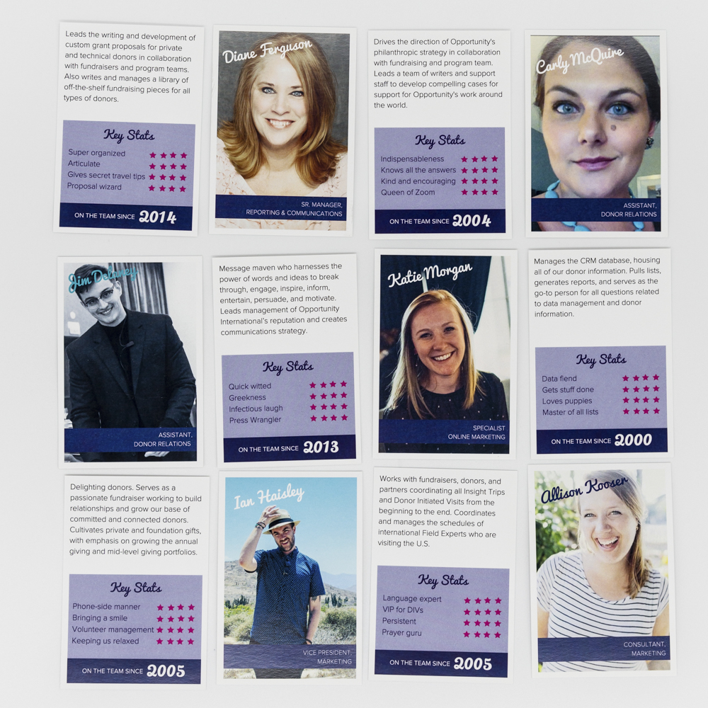 Image of custom printed playing cards with photos and bios of an office's staff.