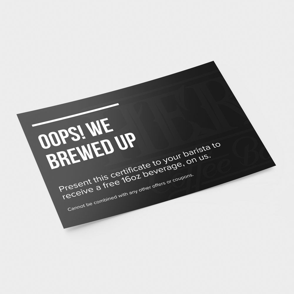 Image custom printed black coupon for a free coffee.