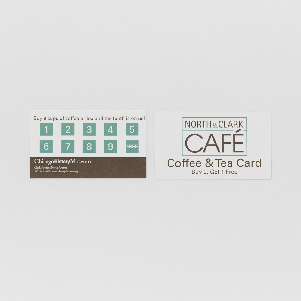 Image of custom printed coffee punch card coupon for coffee shop.