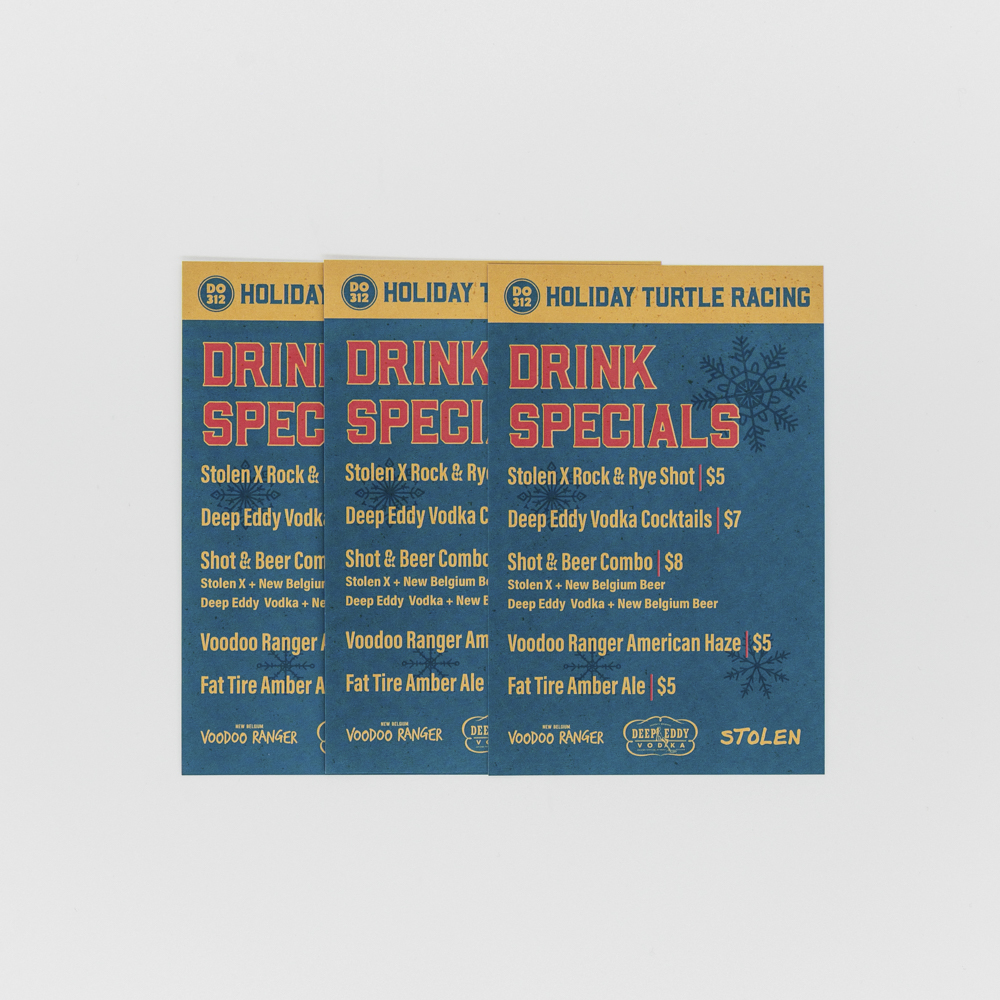 Custom printed coupon featuring drink specials.