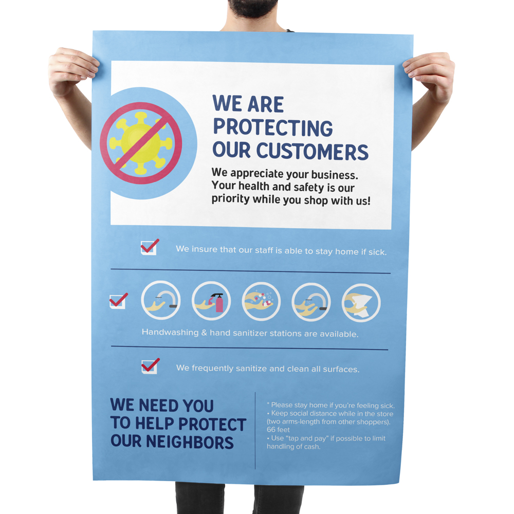 Image of coronavirus signage poster displaying a business's coronavirus protocol.
