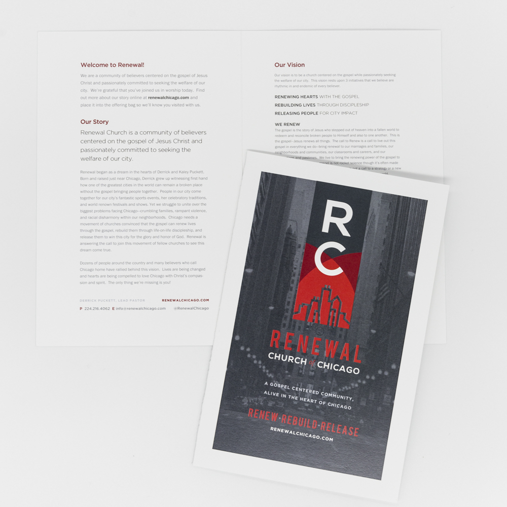 Custom printed folded information card for Renewal Church of Chicago.