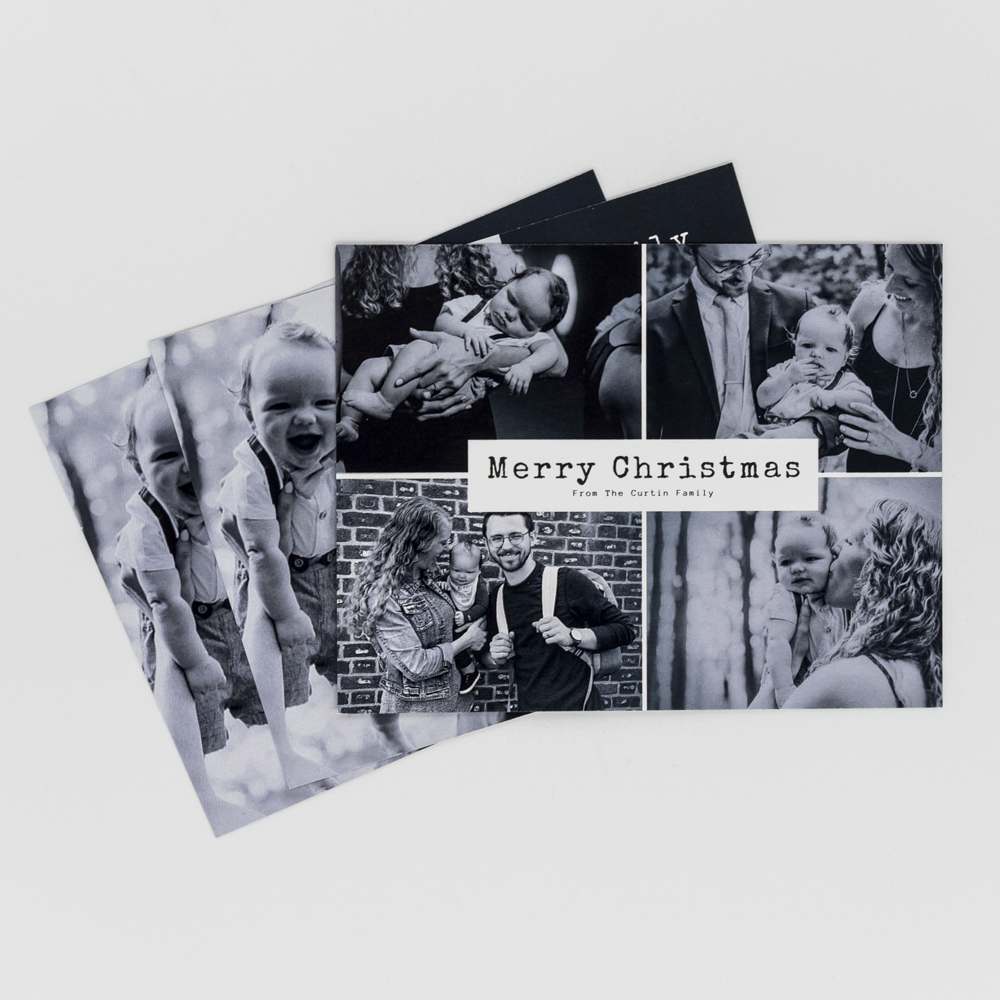 Custom printed family holiday card featuring family photos.