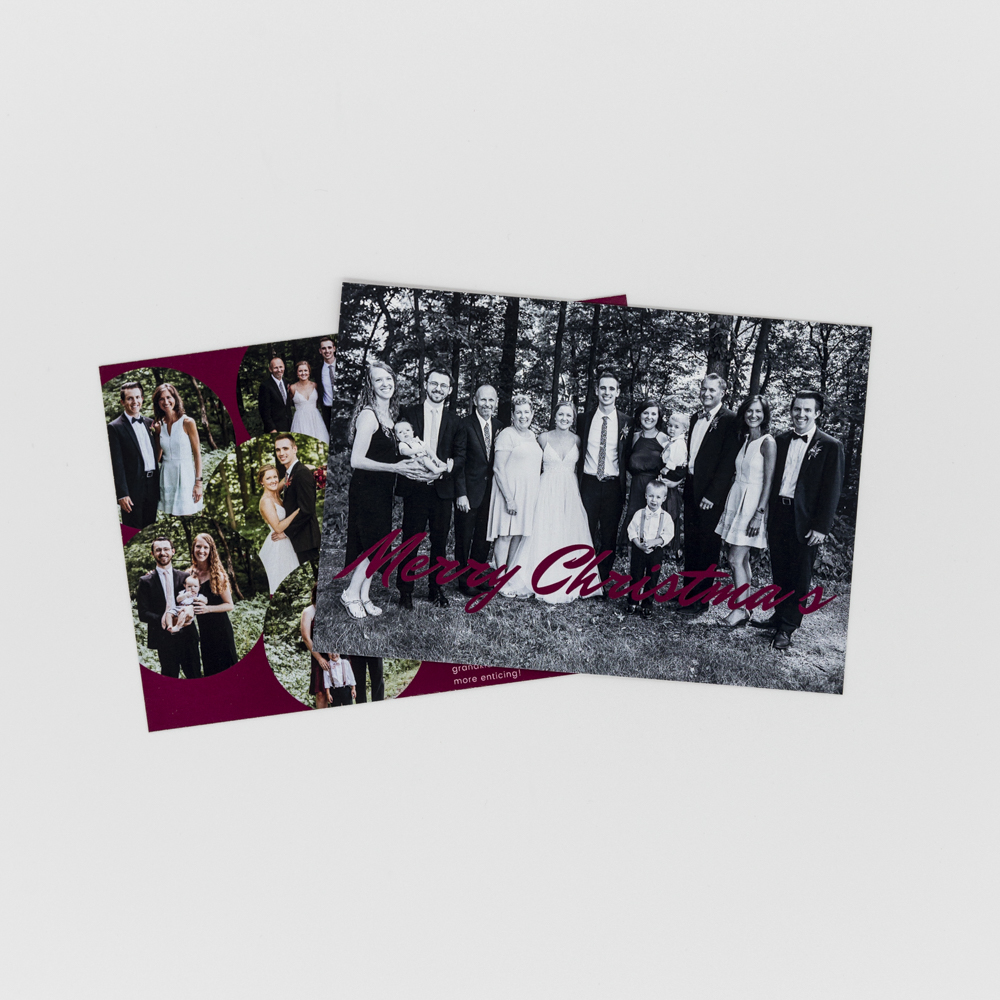 Image of custom printed family holiday card, featuring a black and white family photo.