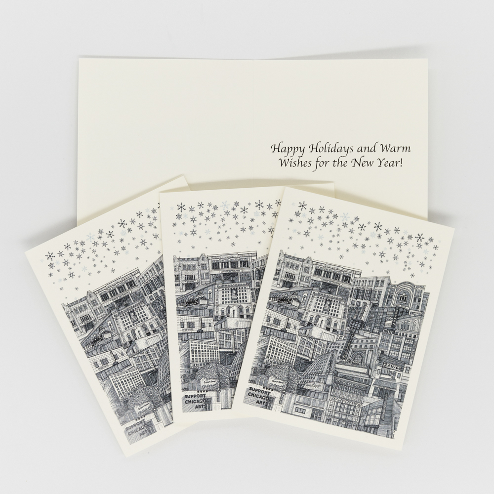 Image of Support Chicago Arts holiday card featuring an illustration of Chicago theatres.