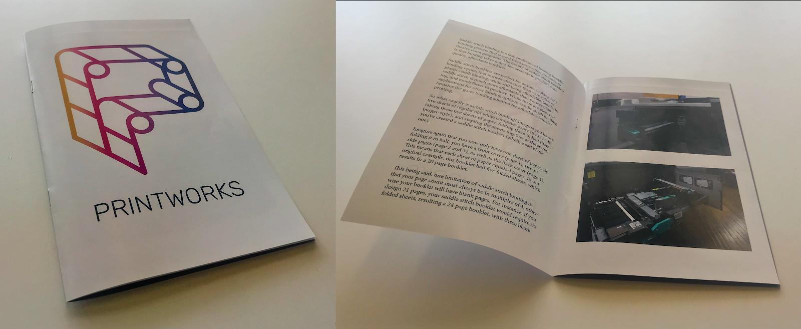 Image of Printworks branded saddle stitch booklet.