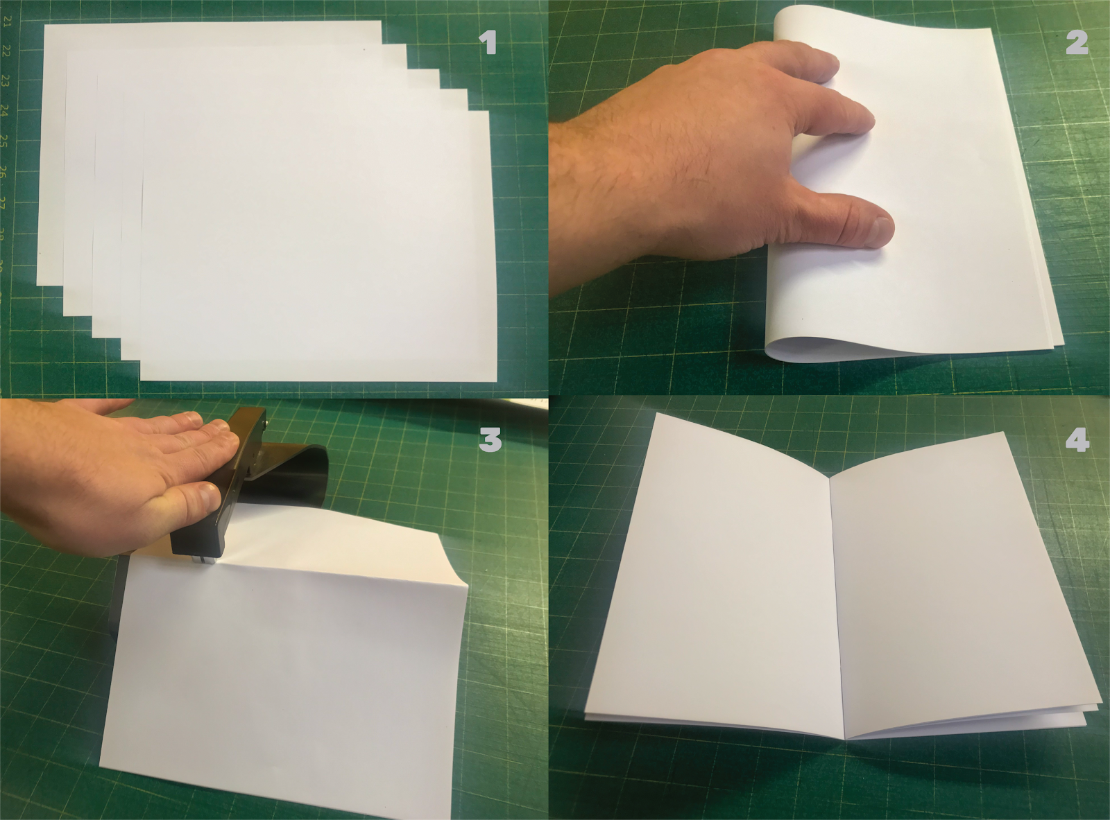Image collage depicting how a saddle stitch booklet is made.