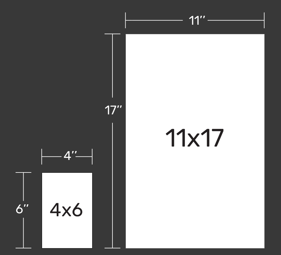 Image depicting difference in size of 11 x 17 and 4 x 6 sizes.
