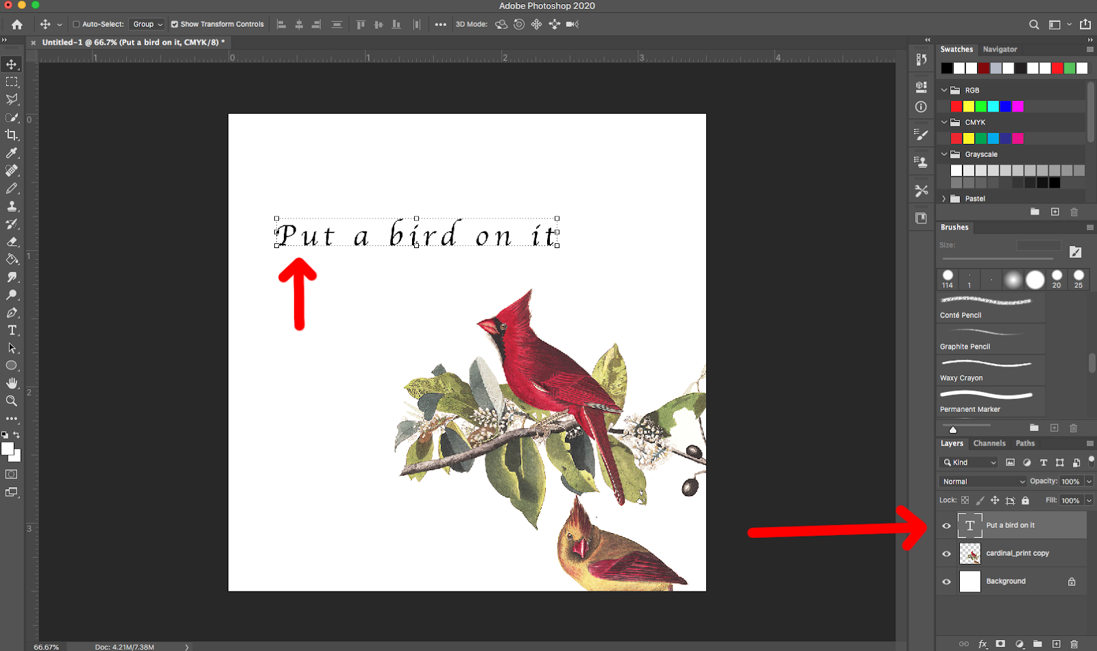 Image showing how to select text layers in Adobe Photoshop.