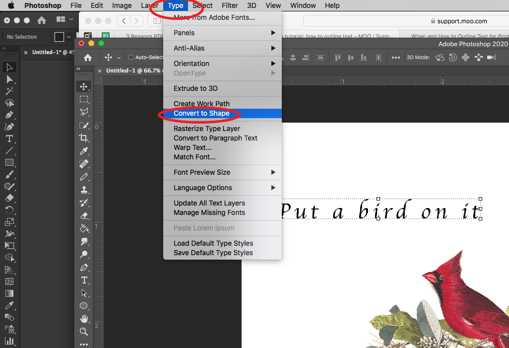 """Image showing how to select """"Convert to Shape"""" in Adobe Photoshop."""
