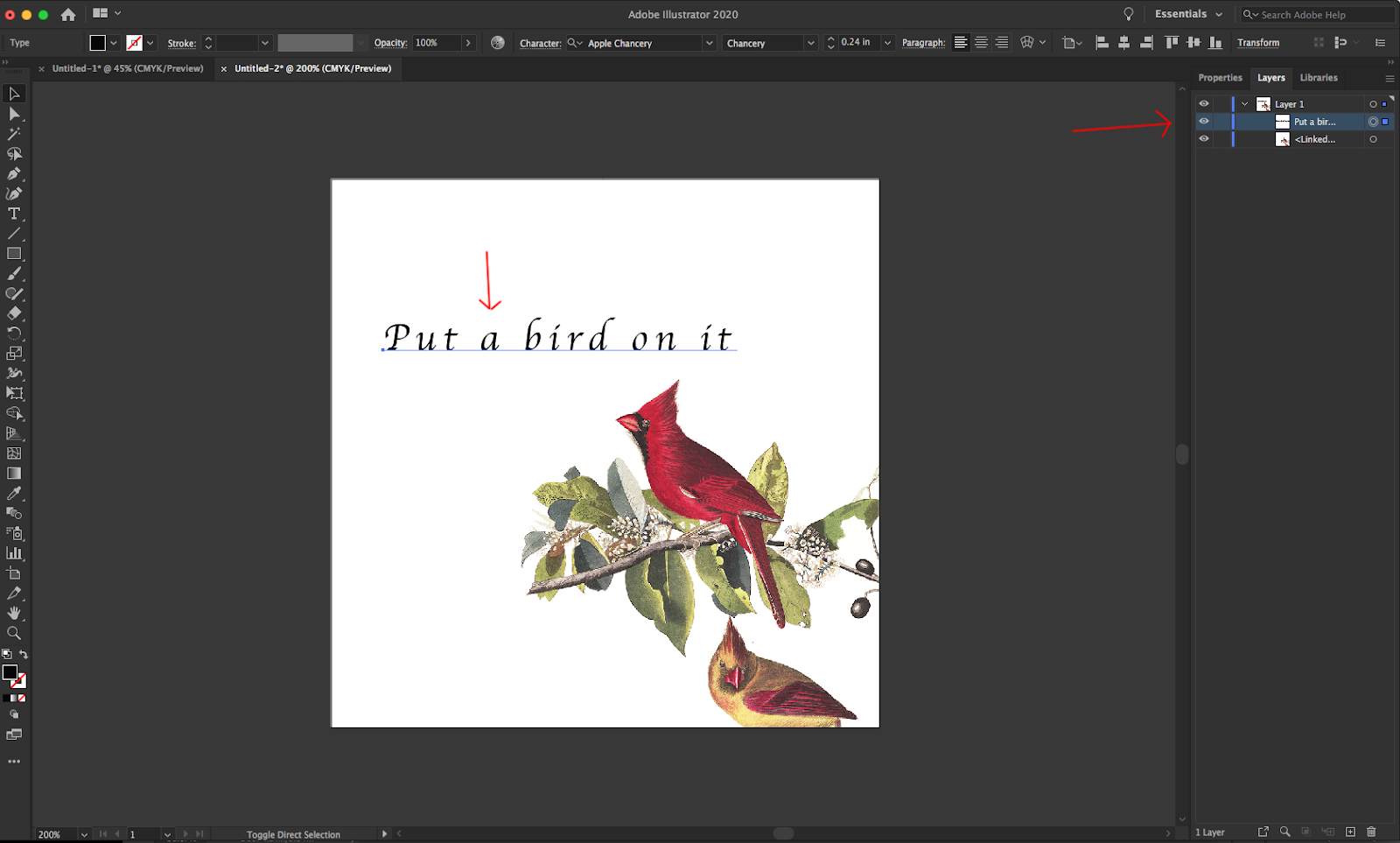 Image showing how to select text in Adobe Illustrator.