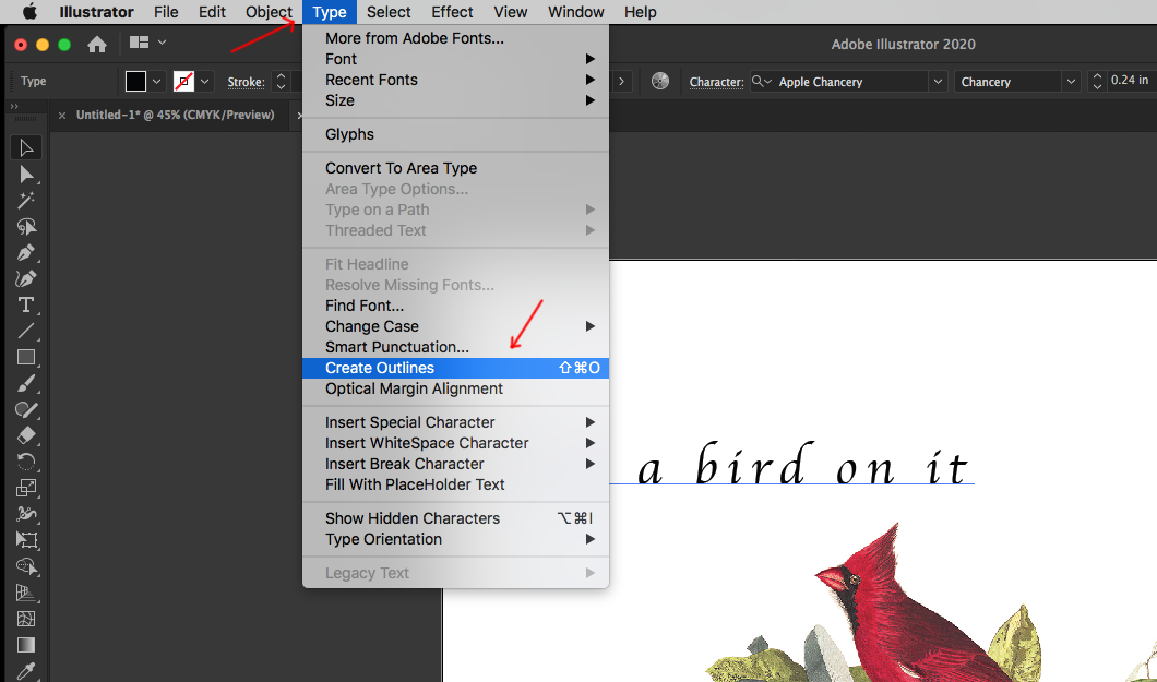 """Image showing how to select """"Create Outlines"""" in Adobe Illustrator."""
