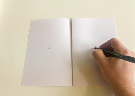 """Image of two pieces of paper folded in half, opened, with the right page labeled """"2"""" and the right page labeled """"3""""."""
