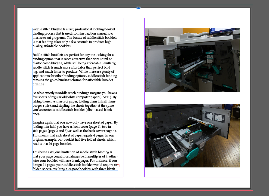 Image depicting how booklet pages are displayed on a screen as a single spread.