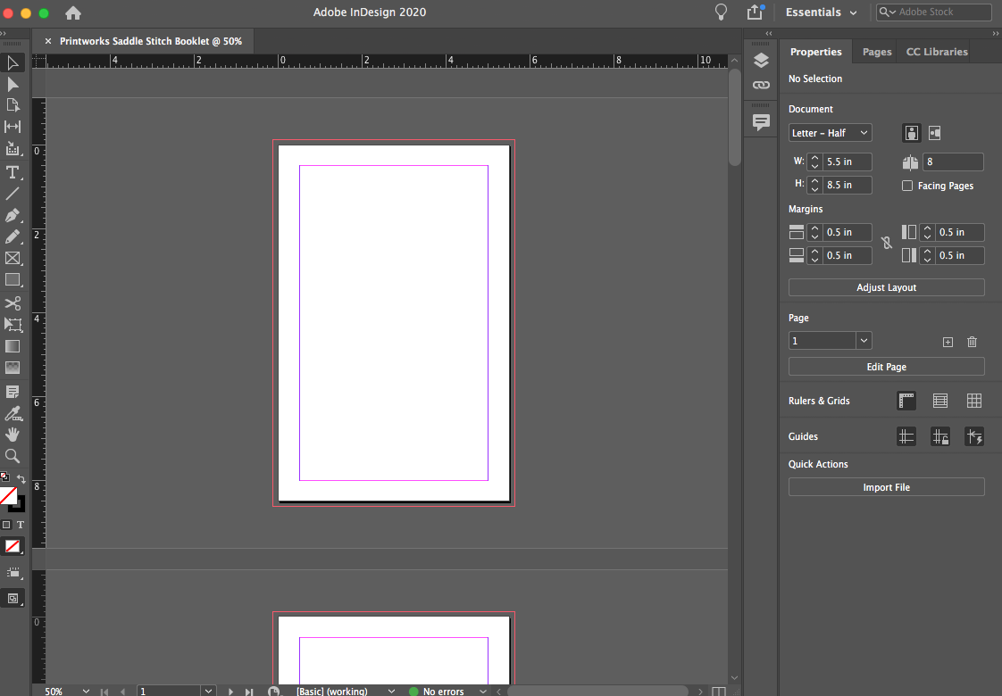 """Image depicting page layout as """"facing pages"""" in Adobe InDesign."""