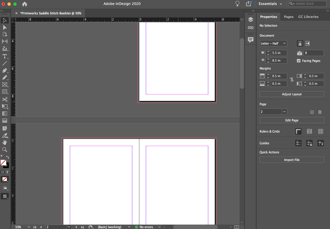 Image depicting a double spread layout in Adobe InDesign.