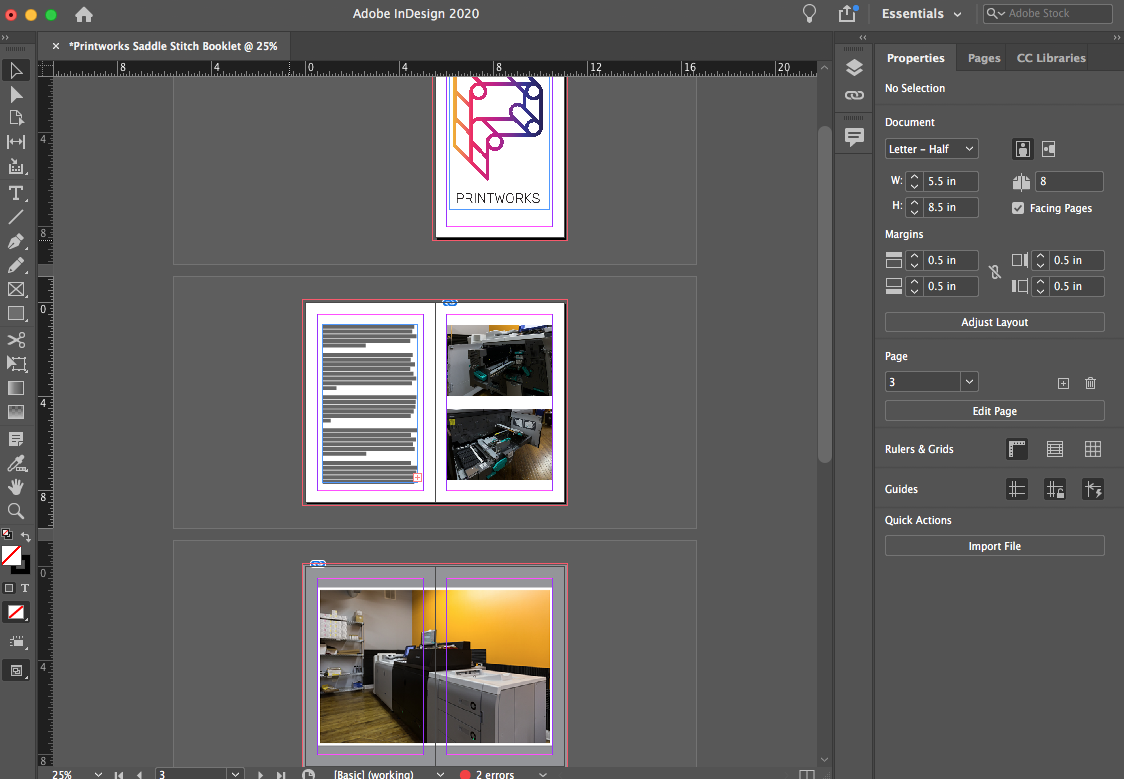 Image depicting a single spread with content in Adobe InDesign.
