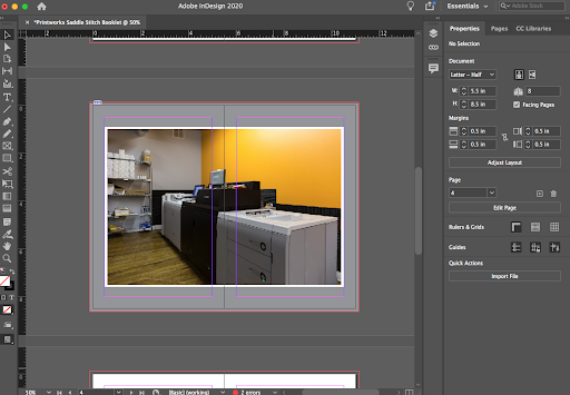 Image depicting a double spread with content in Adobe InDesign.