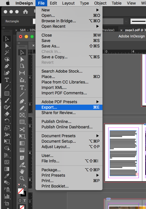 Image showing how to export to PDF in Adobe InDesign.
