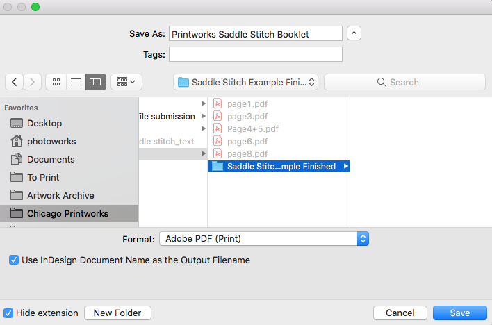 Image showing how to choose file name and location for saving to PDF in Adobe InDesign.