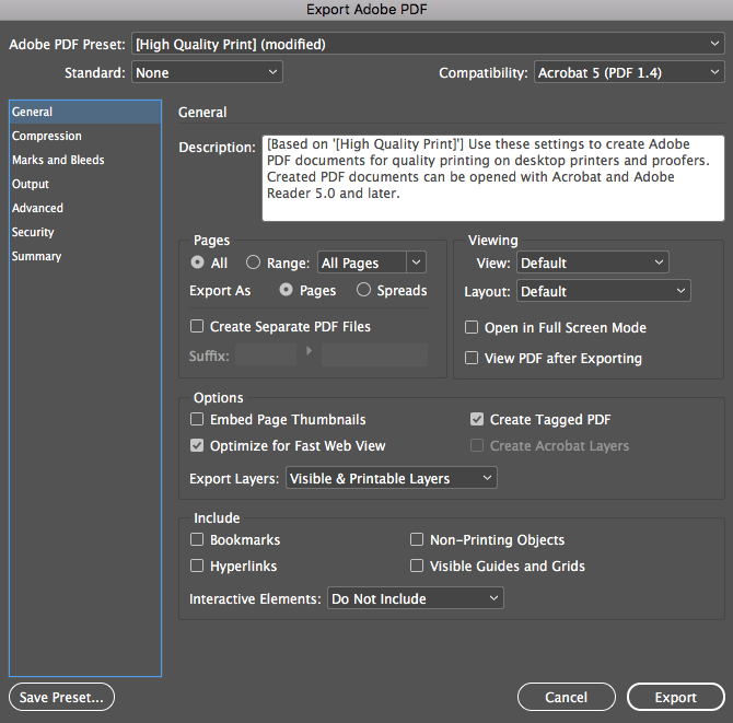 """Image showing how to export PDF as """"Pages"""" in Adobe InDesign."""