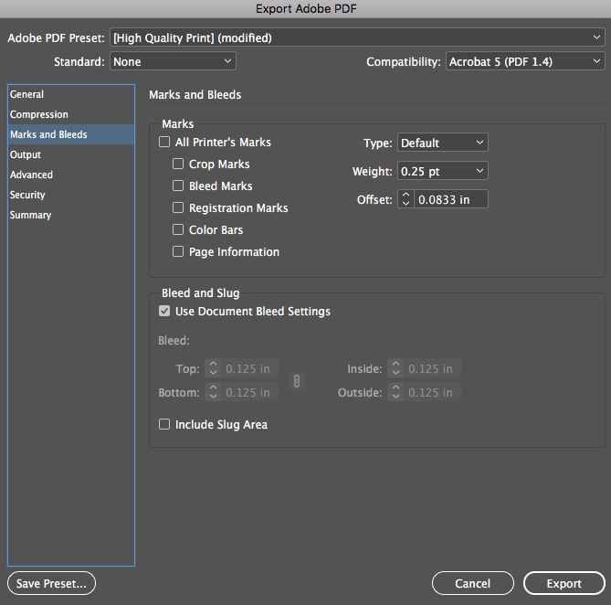 Image showing how to set marks and bleeds when saving a PDF in Adobe InDesign.
